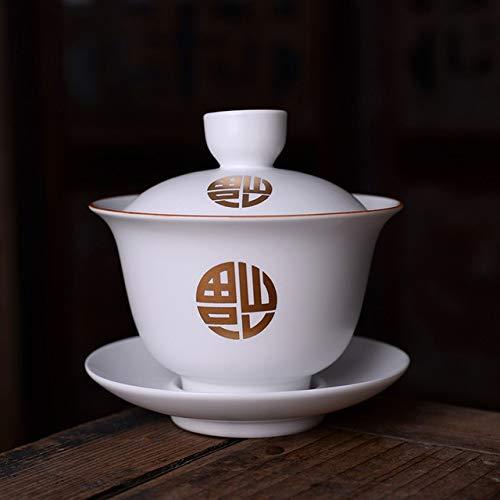 HUAHU Juego de té Chino Pu'er dePorcelana Blanca MateJuego de Taza y Plato de té Sancai
