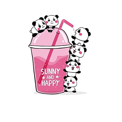 LZHLMCL Parche De Aplicación De Ropa 2 Uds Parches De Bebida De Hierro En Panda Para Ropa Camiseta Diy Vestidos Apliques De Transferencia De Calor Pegatinas De Vinilo Prensa Térmica