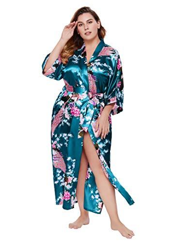 BABEYOND Damen Morgenmantel Große Größen Pfau Muster Gedruckt Strickjacke Kimono Plus Size Maxi Lang Bademantel Damen Lange Robe Strandkleid Blumen Schlafmantel (1-Türkis)
