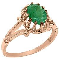 英国製(イギリス製) K14 ピンクゴールド 天然 エメラルド レディースソリティア リング 指輪 各種 サイズ あり
