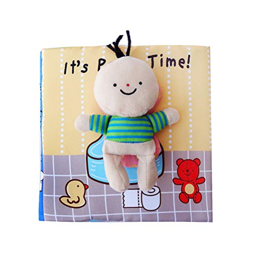 TOYMYTOY Baby's First Non-Toxic Cloth Book Washable Soft Fabric Book Early Educational Preschool Learning Books for Kids (It's Potty Time)