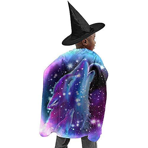 KDU Fashion Wizard Mantel, Geest Van De Lone Wolf Halloween Heks Cosplay Kostuums Robe Cape Mantel Met Wizard Hoed Voor Verjaardag Party Festival Zwart 100X120Cm