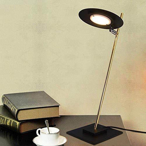 YANQING duurzame industriële minimalistische modieuze bureaulamp platte ronde plaat ontworpen lampenkap & volledig metalen beugel voor decoratie/slaapkamer/studie/zwarte oplichting leven