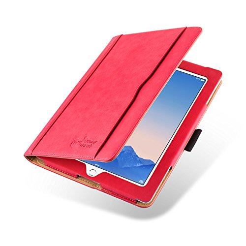 JAMMYLIZARD Hülle für iPad 4 | Ledertasche Flip Hülle [Business Tasche] Leder Smart Cover Lederhülle für iPad 4. 3. und 2. Generation, Rot und Honig [mit Eingabestift und Pencil Halter]