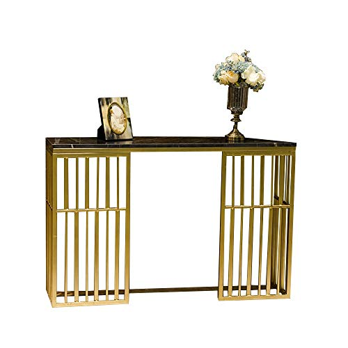 """OUPAI Entryway Sofa Table Console Table, Entryway Hallway Table Behind Coach Sofa Slim Entry Table with Marble, Modern Look, Gold Metal Frame, Organization Shelf 31""""×11.8""""×29.5"""" for Living Room Bedroo"""