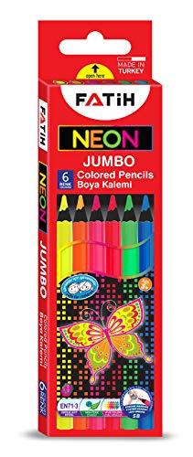 KrevoArt NEON-Buntstifte | 6x DICKE Neon-Buntstifte | Erhöhte Bruchfestigkeit | Umweltfreundliches FSC Holz | Kindergerecht, TÜV Nord, CE, EN71 zertifiziert