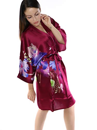 prettystern Damen Knie-lang Seide Kimono Wickel-Kleid Morgenmantel Robe Floral Print weinrot SK09