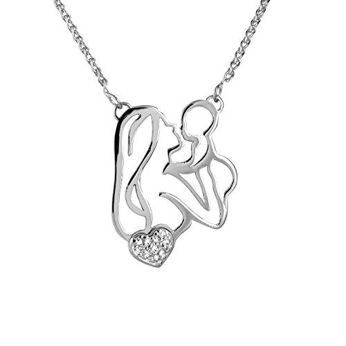 Diamond Line Goldkette mit Diamant-Anhänger  375 Weißgold 10 Diamanten 0,03 ct.