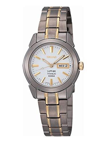 Seiko Dames analoog kwarts horloge met titanium armband SXA115P1