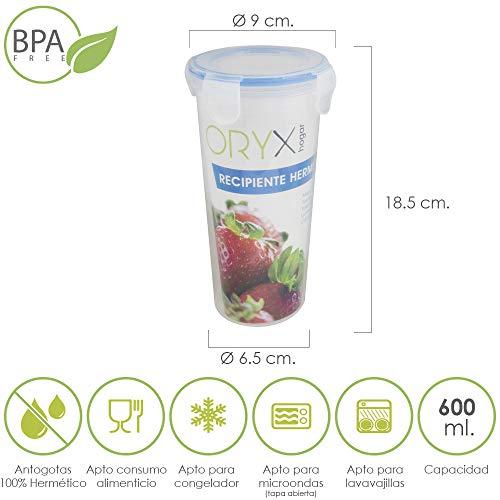 Hermetico Kunststoffbehälter rund 600 ml. diámetro 9x18.5 (Alt.) cm durchsichtig