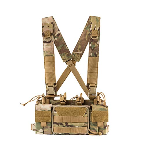 OneTigris Tactical Chest Rig with 5.56/7.62 Rifle Mag Pouches Pistol Mag Pouches and X Harness for Airsoft Shooting Wargame Paintball (Multicam)