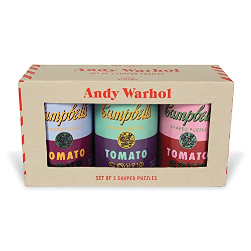 """Andy Warhol Soup Cans Shaped Jigsaw Puzzles, Includes Three 100 Piece Puzzles, 5"""" x 8.25"""" Each – Includes Storage Tins, Featuring Iconic Andy Warhol Artwork – Thick, Sturdy Pieces – Great Gift Idea"""