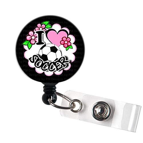 LOVEKITTY - I Love Soccer Retractable Swivel Clip ID Badge ReelName BadgesID Badge Holder for Doctor Nursing Badge Xray Tech Medical Co WorkerTeacher Nurse Great Gift Idea 2