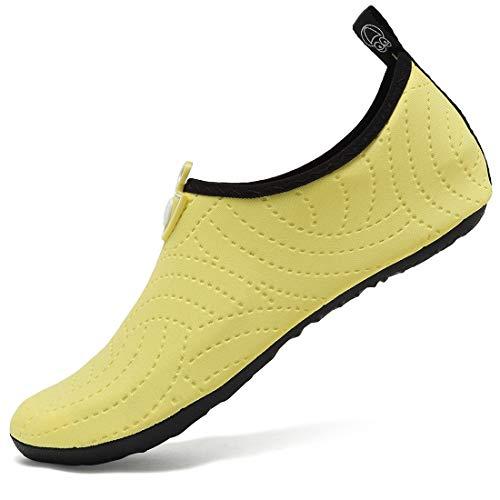 VIFUUR Wassersport Schuhe Barfuß Quick-Dry Aqua Yoga Socken Slip-on für Männer Frauen Kinder Blumen Gelb EU36/37