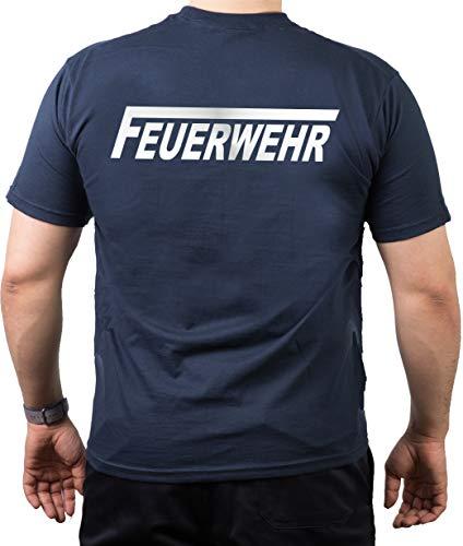 feuer1 T-Shirt Feuerwehr mit langem F - Silber reflektierend - beidseitiger Schriftzug