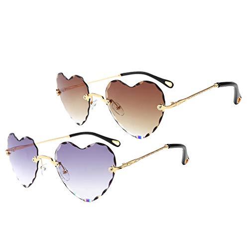Harilla 2PCS Gafas de Sol en Forma de Corazón Lentes Retro Teñidas Gafas con Marco de Metal Anti UV