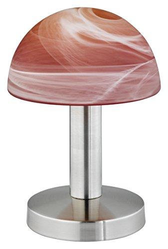 Trio-Leuchten 599000118 Tischleuchte in Nickel matt, Touch-Me-Funktion(4-fach schaltbar, 3 Helligkeitsstufen), Glas alabasterfarbig Farbverlauf rot/orange, exklusive 1xE14 max. 40W, Höhe 21 cm