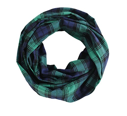 Radiant & Resilient Plaid Infinity Scarf, 100% Cotton Flannel Plaid Infinity Scarf (Green/Night Blue, Small)