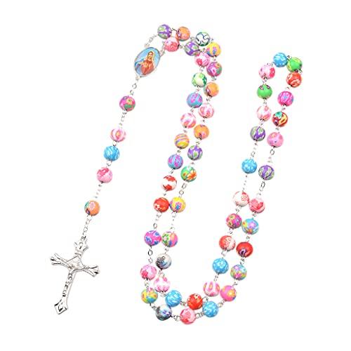Lobounny Colorido collar de rosario católico de arcilla polimérica redondo perla Mary Cross colgante