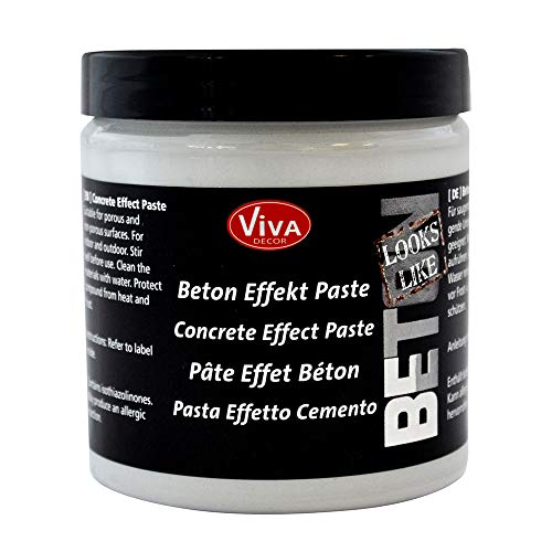 Viva Decor® Beton Effekt Paste (Grau, 250 ml) Betonoptik Farbe - Beton Deko - Beton für Kreative - Kreativ Beton Farben- Bastel Beton Paste Made in Germany