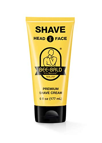 BEE BALD SHAVE Premium Shave Cream Goes On Light & Slick For A Shave That's Incredibly Smooth & Quick For Both Face And Head, 6 Fl. Oz.