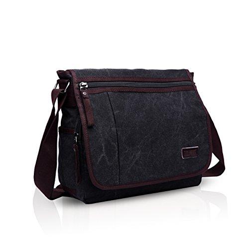 FANDARE Simple Herren Postman Umhängetasche Studenten Reisen Crossbody Bag Große Kapazität Multi-Tasche Verschleißfest Leinwand Schwarz