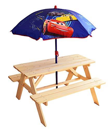 FUN HOUSE - 713001 - DISNEY CARS Table Pique-Nique avec Parasol pour Enfant
