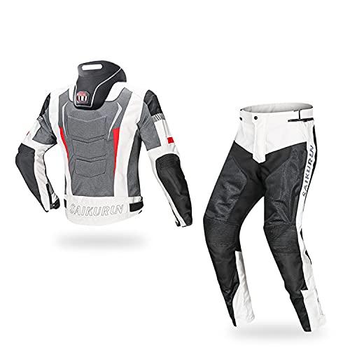 WFGZQ Traje de Moto Verano Hombre 2 Piezas con Protecciones Y Reflectores Chaqueta Y Pantalón de Moto de Motocicleta Textil Cómodo Y Transpirable con Protector de Cuello