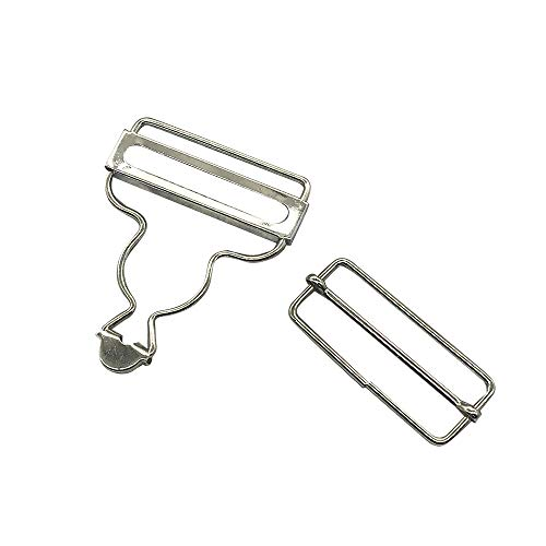 6 Set 45mm(1 3/4 inch) Silver Suspender Adjuster Overall Buckle,Bib Liberty Overall Clips Dungaree Fastener Braces Buckle with Slider,Q349