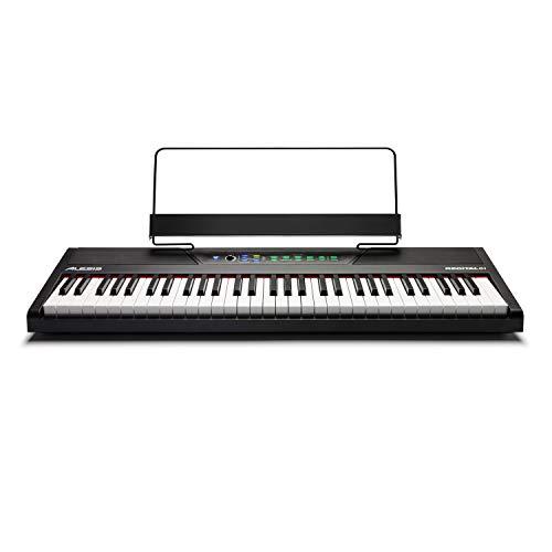 Alesis Recital 61 - Einsteiger Digitalpiano/ E Piano / E Klavier mit 61 halbgewichteten Tasten in Standardgröße, Netzteil, eingebauten Lautsprechern und 10 hochwertigen Stimmen