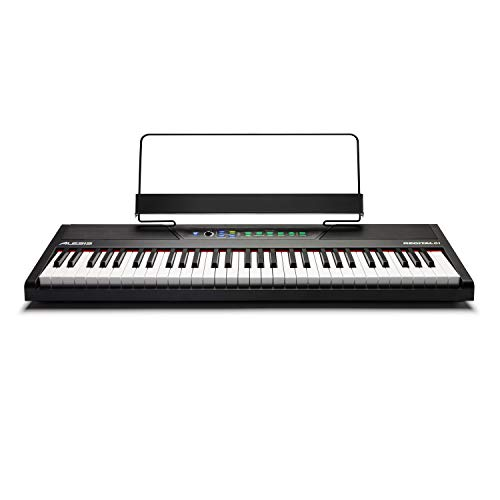 Alesis Recital 61 - 61-Key Digital Piano / Electric Keyboard with Built-In Speakers, Semi Weighted Keys, Power Supply, and 10 Premium Voices