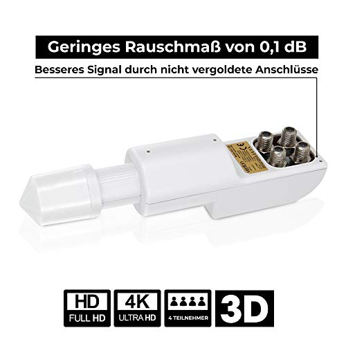 Venton Quad-Lnb Quattro-Switch Lnc Digital - Full Hd-Tv 3d 4k Uhd - eingebauter Multischalter 4-fach Teilnehmer-Ausgänge Anschluss Satelliten-Schüssel multi-feed [weiß]