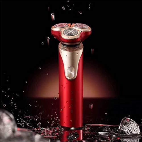 3D oplaadbaar waterdicht elektrisch scheerapparaat nat en droog mannen Rotary scheerapparaat elektrisch scheerapparaat met pop-up trimmer - rood, rood