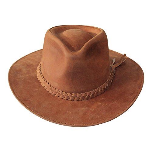 B&S Premium Leather Fedora - Sombrero de ala Ancha - 100% Piel Resistente al Agua – Marrón Canela 58cm