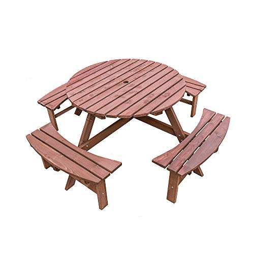 Panana Large Round Wooden Picnic Table and Bench Set 8 Seater Seats Furniture for Garden, Patio, Pub