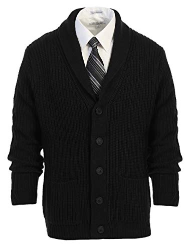 Gioberti Mens Heavy Weight Shawl Collar Knitted Regular Fit Cardigan with Faux Suede Elbow Patch, Black, Large