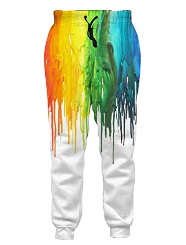 Loveternal Colorful Pants for Women Teenager Melting Paint Dripping Joggers 3D Print Casual Graphic Sport Joggers Rainbow Graffiti Baggy Sweatpants for Mens L