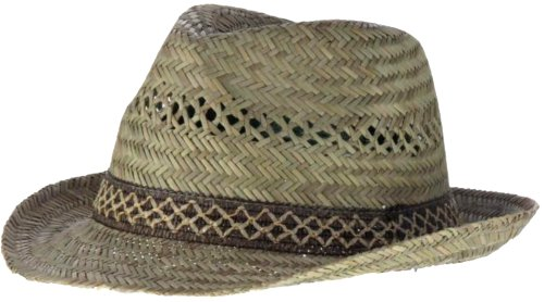 HDUK Summer Hats Fedora entièrement en paille avec bande de contraste pour adulte Disponible en tailles S/M/L - jaune -