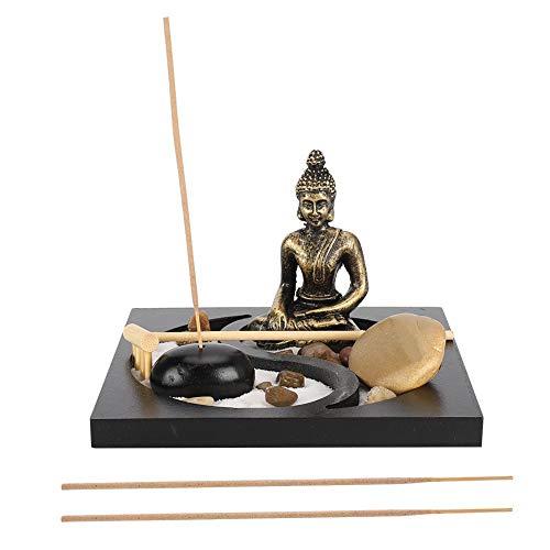 fuwinkr Desktop Zen Sand Tabletop Buddha Zen Garden Meditating Buddha Statue Incense Burner Tabletop Incense Stick Holder Innovative Home Living Room Ornament(#2)