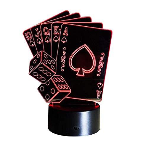 Optische Täuschung 3D Poker Nacht Licht 7 Farben Andern Sich USB Adapter Touch Schalter Dekor Lampe LED Lampe Tisch Kinder Brithday weihnachten Geschenk