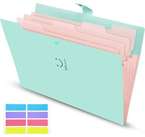 Skydue Expanding File Folder,Expandable Folder,Letter A4 Paper Accordion Document Organizer (Jade)