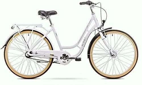 breluxx® 26 Zoll ALU Damenfahrrad Turing, Rücktrittbremse, Nexus 7 Gang Nabenschaltung, Nabendynamo + Beleuchtung, Retro Bike, weiß - Modell 2020