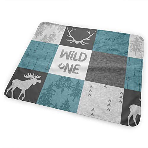 Wild One Quilt Moose Teal Black And Grey Bed Pad Washable Waterproof Urine Pads for Baby Toddler Children and Adults 31.5 X 25.5 inch