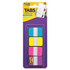 Post-it Tabs create necessary order by allowing you to easily organize Post-it Tabs create an order Easily organize notebook pages into sections Aqua, Yellow, Pink and Violet tabs give you the flexibility to organize by color Durable, Writable, Repos...