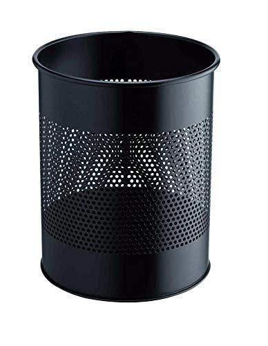 Durable 331001 Papierkorb Metall rund 15 Liter, Perforation 165 mm, schwarz
