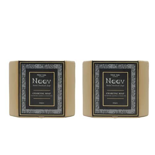 Neev Herbal Handmade Soaps Charcoal Soap (100gm) - Set of 2