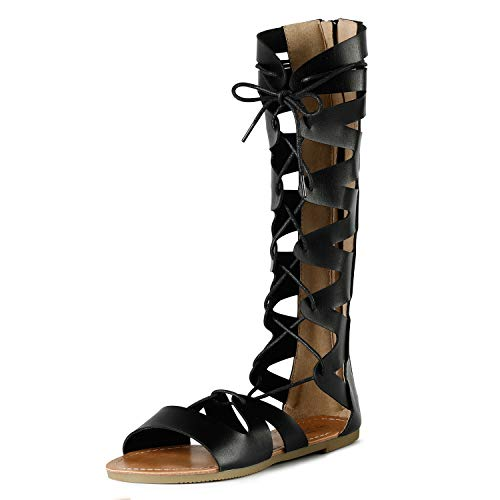 Sandalup Gladiator Sandals Knee High Flat Sandals Roman Shoes with Open Toe...