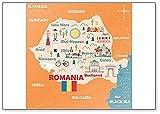 Imán para nevera con diseño de mapa de Rumania