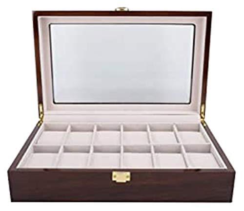 Vibiu Reloj Box Caja de Madera de Gama Alta Reloj de Almacenamiento de Reloj de Pintura roja 10-dígitos Simple Simple European Style Clamshell Watch Box
