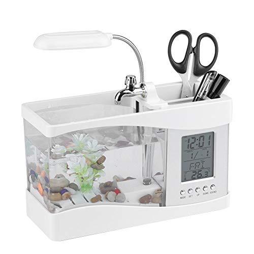 Asixx Multifunktionales Aquarium, Mini Aquarium mit LCD Digitalanzeige, Großen Beleuchtung und Stift-Container für Wohnzimmer, Schlafzimmer und Büro usw(Weiß)